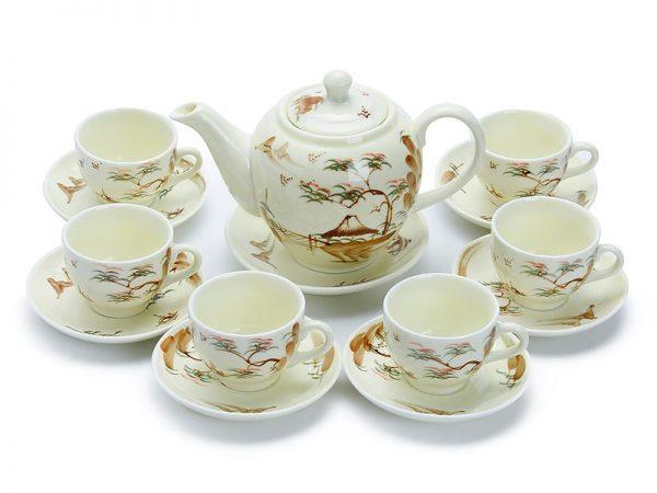 bộ ấm trà bát tràng, Bộ Bình Trà Bát Tràng Vẽ Phong Cảnh