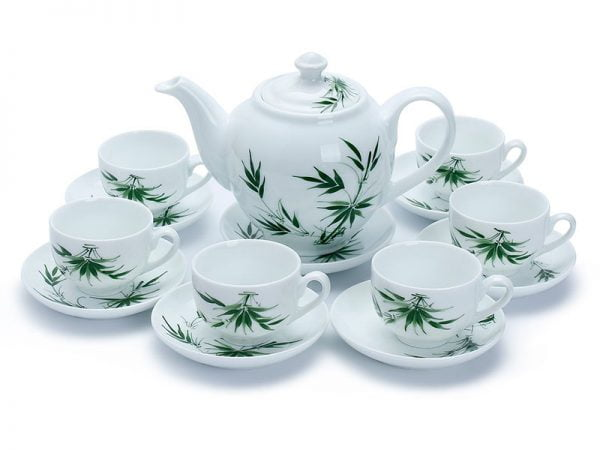 bộ ấm chén uống trà Bát Tràng, Bộ Bình Trà Bát Tràng Vẽ Lá Trúc