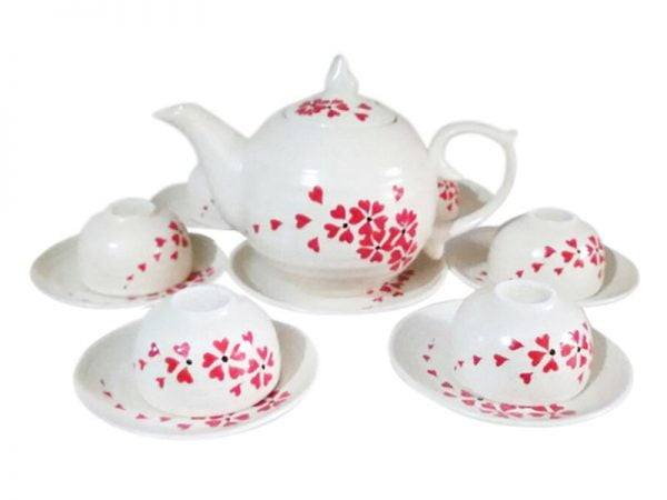 bộ ấm chén uống trà bát tràng, Bộ Ấm Trà Bát Tràng Men Kem Hoa Đỏ