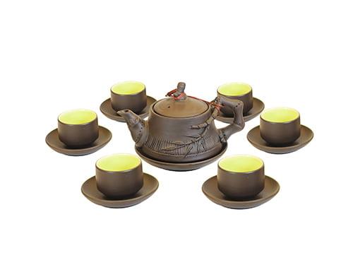 Bộ ấm trà Bát Tràng đắp trúc tách lót S1